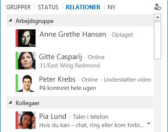 Skærmbillede af sortering af kontakter efter relation