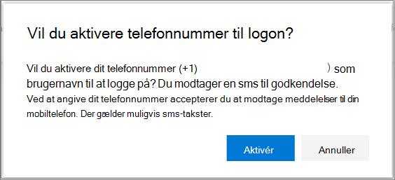 Bekræftelsesdialogboks til aktivering af sms-logon for et telefonnummer