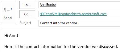 Mail med webstedspostkassen medtaget i Cc-feltet.