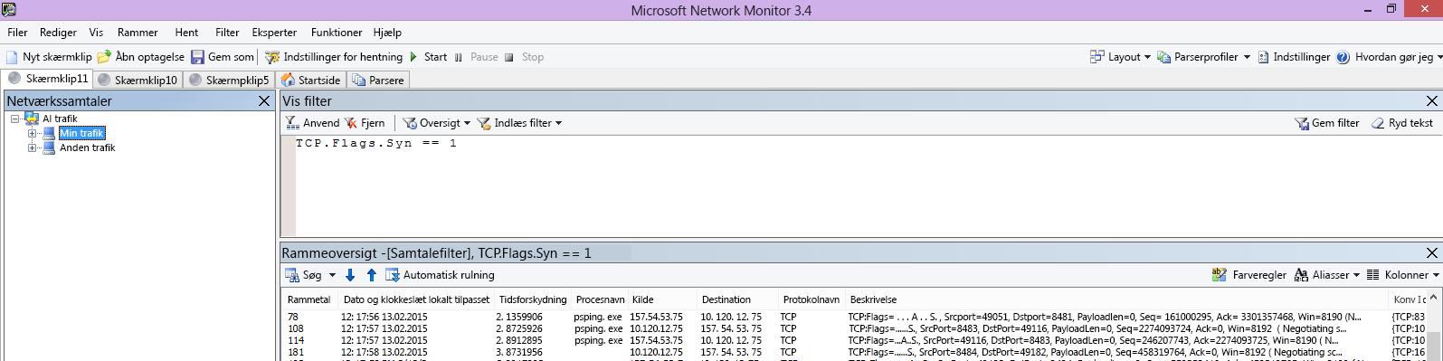 Netmon-sporing fra den klient, som indeholder den samme PSPing-kommando gennem filteret TCP.Flags.Syn == 1.