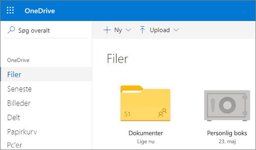 Skærmbillede af Personlig boks, der vises i filvisningen på OneDrive på internettet