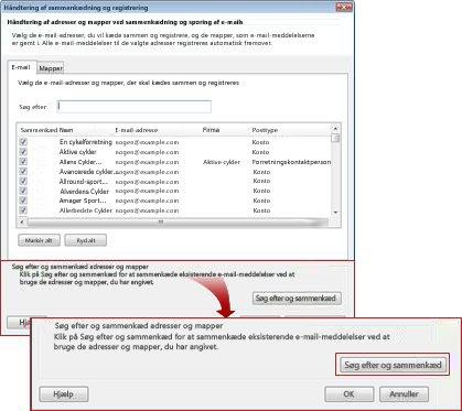 dialogboksen til administration af sammenkædning og registrering vises med knappen til søgning og sammenkædning fremhævet.