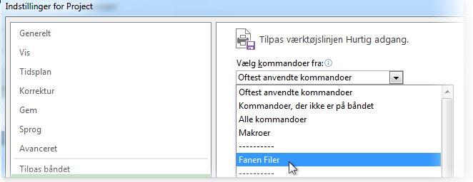 Tilpas værktøjslinjen Hurtig adgang ved at tilføje kommandoer under fanen Filer