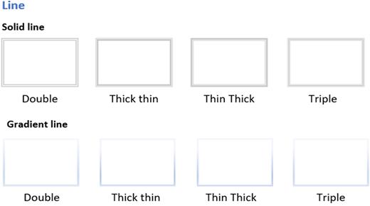 Stregtypografier, der ikke understøttes i Visio til internettet.
