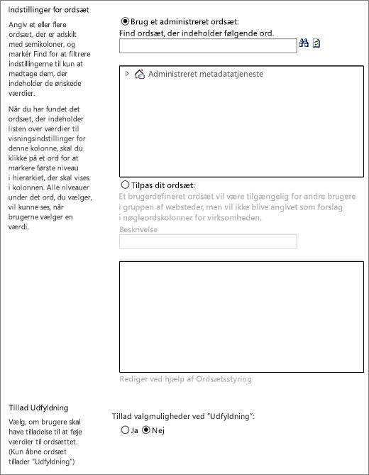 Valg for kolonnen Administrerede metadata