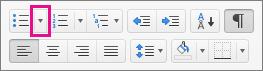 Klik på pilen ud for ikonet for punkttegn for at vælge eller tilføje punkttegn.