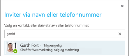 Dialogboksen Inviter via navn eller telefonnummer