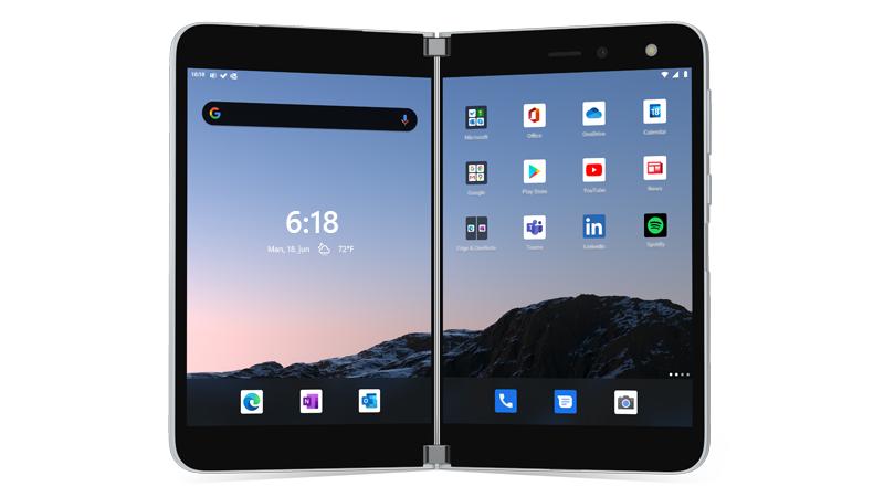 Surface Duo åbnet med startskærmen vist
