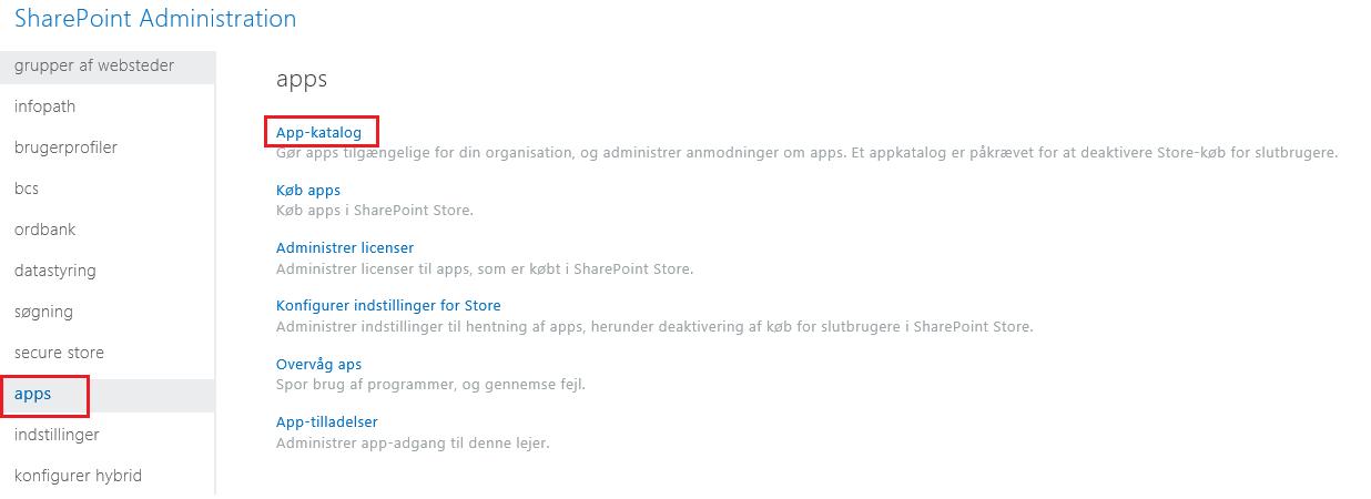 Skærmbillede af kategorierne for SharePoint Administration App.