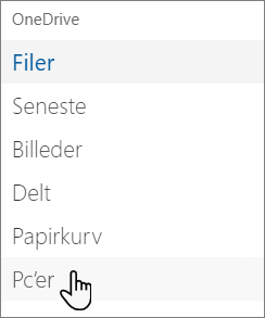 OneDrive-portalen navigation i venstre side viser pc'er