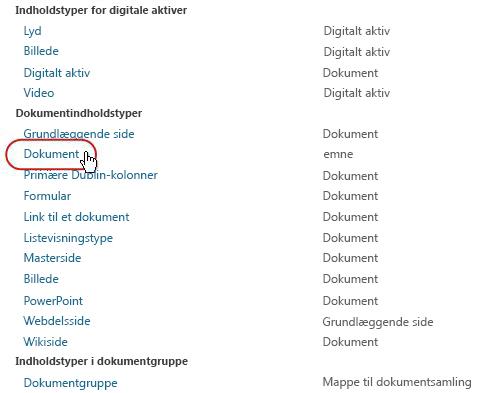 Dokumentindholdstyper med type fremhævet