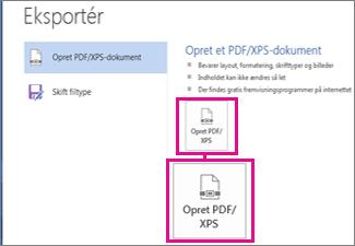 Opret PDF/XPS-knap under fanen Eksportér i Word 2016.