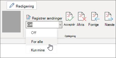 Slå Registrer ændringer til for alle.