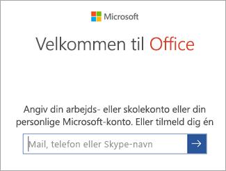 Angiv mailadressen til din Microsoft-konto eller Office 365-konto
