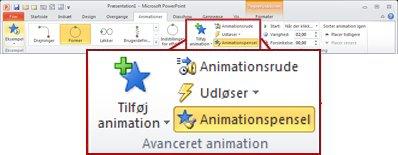 Fanen Animationer på båndet i PowerPoint 2010