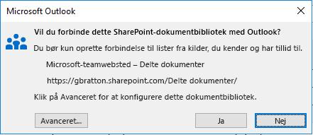 Opret forbindelse til et SharePoint-dokumentbibliotek