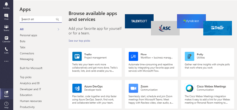 Gennemse apps i MS teams