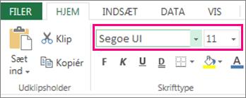 skrifttypeindstillinger på båndet i Excel