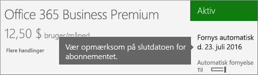 Skærmbillede, der viser et aktivt abonnement med automatisk fornyelse slået til. Datoen for automatisk fornyelse vises.