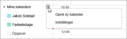 Vælg Min Kalender, og vælg derefter Indstillinger