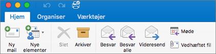 Sådan ser båndet ud i Outlook 2016 til Mac