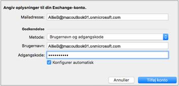 Dialogboksen Exchange-kontooplysninger