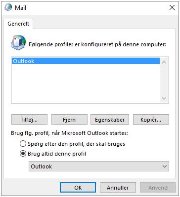 Mailegenskabsark, der er brugt til at tilføje eller fjerne en profil for din Outlook-konto