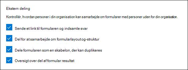 Microsoft Forms-administrator indstilling for ekstern deling