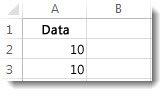 Data i cellerne A2 og A3 i et Excel-regneark