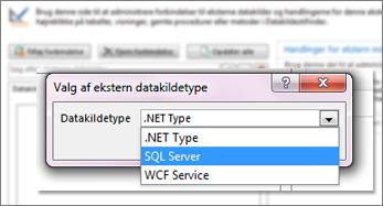 Skærmbillede af dialogboksen Tilføj forbindelse, hvor du kan vælge en datakildetype. I dette tilfælde er typen SQL Server, der kan bruges til at oprette forbindelse til SQL Azure.