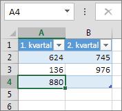 Tilføje en række ved at skrive i den første række under en tabel