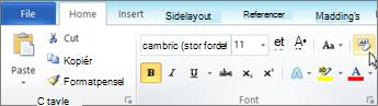 Klik på Ryd formatering under fanen Startside.