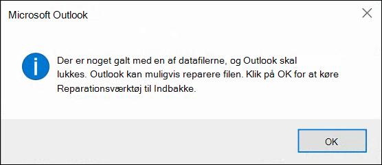 Noget gik galt med en af dine datafiler, og Outlook skal lukke ned.