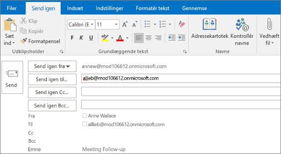 Skærmbillede viser indstillingen Send igen for en mail. I feltet Send igen er modtagerens adresse leveret med funktionen Autofuldførelse.