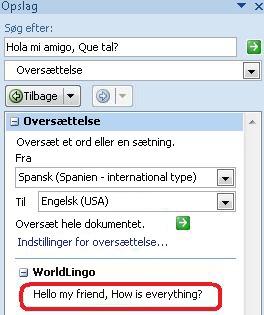Dialogboksen Indstillinger for oversættelse