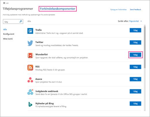 Et skærmbillede af tilgængelige forbundne tjenester i Outlook på internettet