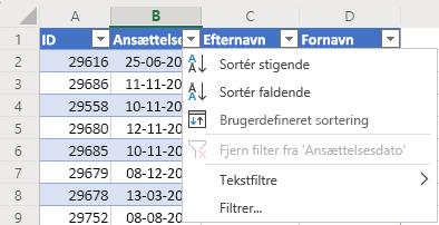 Tabel med fire kolonner: ID, Ansættelsesdato, Efternavn og Fornavn. Menuen AutoFilter er åben for kolonnen Ansættelsesdato