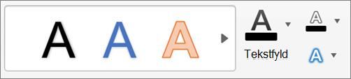 Klik på tekstfyld, tekstkontur og teksteffekter