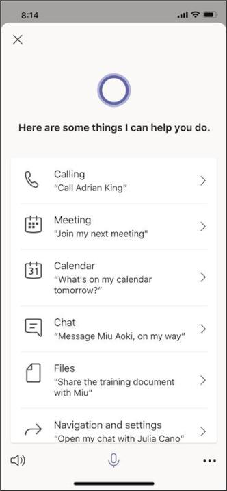 Skærmbillede af Cortana-queries-mobile