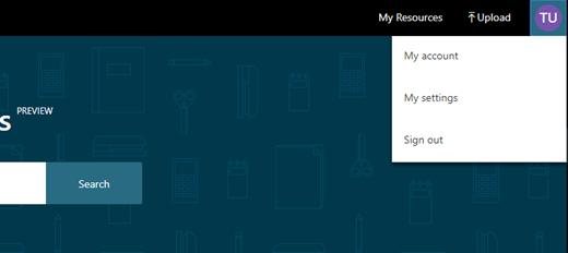 Mine indstillinger, der er placeret i øverste højre hjørne af skærmen ved at klikke på dit bruger-ikon