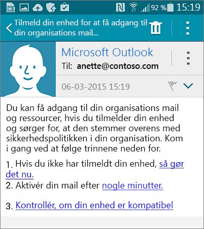 Tilmelde mailmeddelelse fra Android