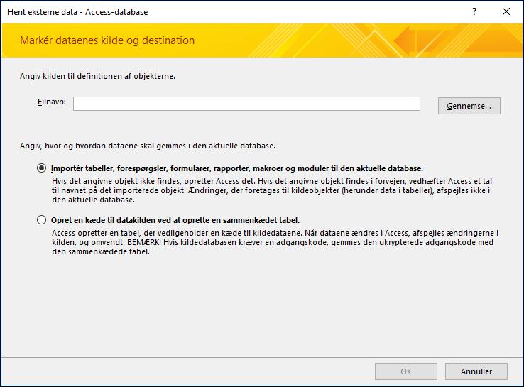 Guiden Importér skærmbillede af Hent eksterne Data - Access-Database