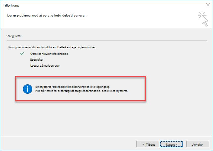 Fejl i krypteret forbindelse til Outlook