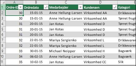 Eksempeldata i en Excel-tabel, der skal bruges som datakilde for en pivottabel