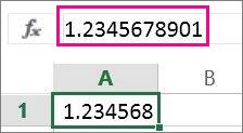 Tal vises i afrundet form i regnearket, men med alle decimaler på formellinjen