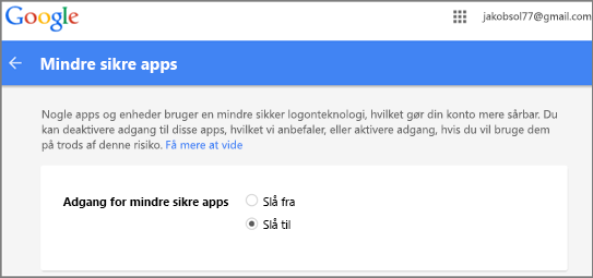 Du skal gå til Google Gmail for at tillade Outlook Access