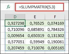 Funktionen RANDARRAY med en 5 x 3 matrix: =RANDARRAY(5,3)