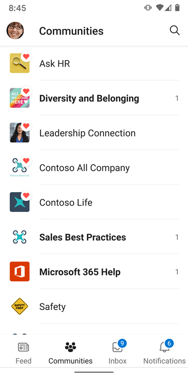 Skærmbillede, der viser communities i Yammer Android-appen