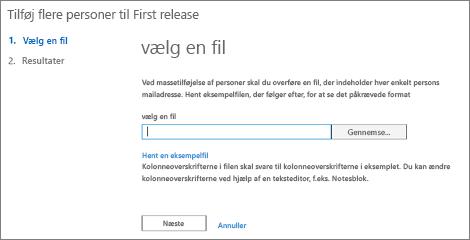 Tilføj flere brugere i Office 365 First Release