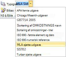 Klik på pilen ud for Typografi i gruppen Citater og bibliografi